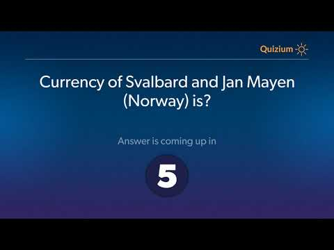 Currency of Svalbard and Jan Mayen Norway is?   Countries and Currencies Quiz