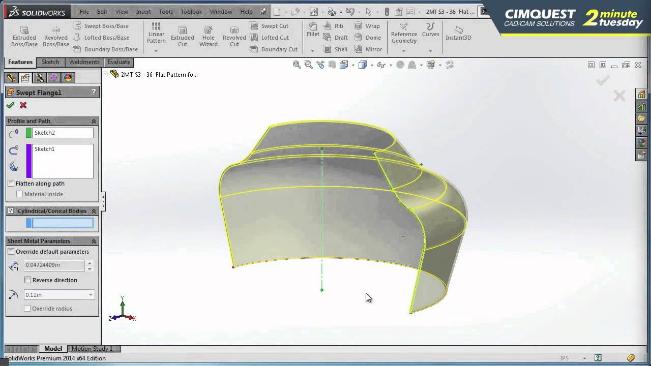 Solidworks Flat Pattern For Conical Bodies Cimquest 2