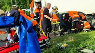 Entrainement accident poids lourd des pompiers de l'Ain