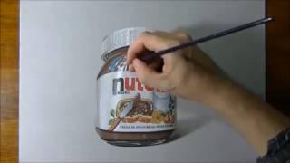 Desenhando Um Pote De Nutella 3D (Realista) - Tu Desenhos