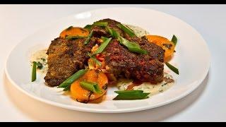 Хрустящая говяжья печень с пряными персиками | Мясо. От филе до фарша