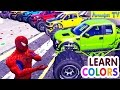 Learn Colors with Trucks & Cars! Coloring Spiderman car cartoon for Kids - Amonica TV