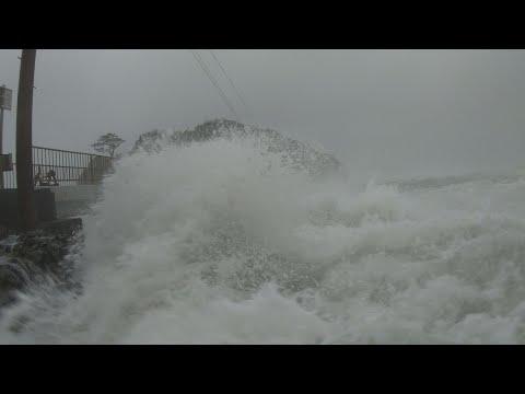 Dangerous Storm Surge Waves, Strong Wind - 4K Stock Footage Typhoon Hagibis, Japan
