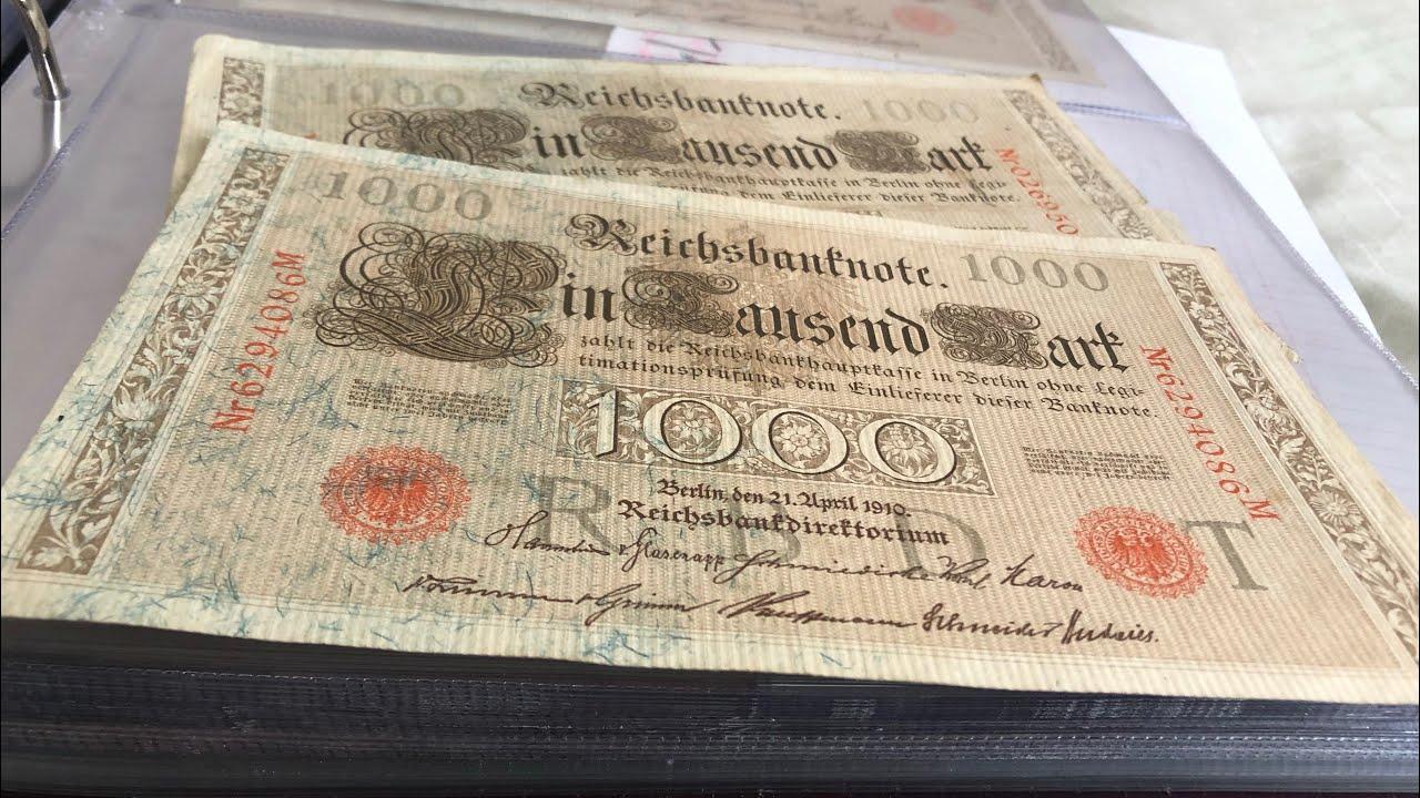 Пополнение 1000 марок 1910 года 1000 Mark 1910 German States Reichsmark Banknote Bill Paper Money