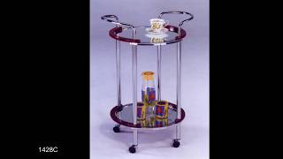 METAL GLASS TROLLEY CART