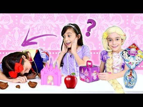 AMIGO CHOCOLATE PRINCESAS DISNEY!!! ★ Rapunzel, Sofia e Branca de Neve brincam de Amigo Ovo Secreto
