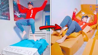 Testing The Tokyo Olympics' Romance Proof Beds 😏 (Mind Blown) #shorts