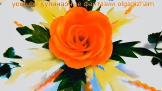 Чудесный Цветок из моркови и огурца! Украшения из овощей!  Карвинг