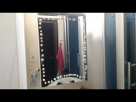 ★ Handmade with seashells on the mirror in the bathroom. Diy room Decor in the bathroom.