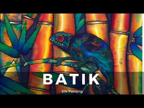 BATIK SILK PAINTING WITH JEAN-BAPTISTE – FINE ART – CHAMELEON