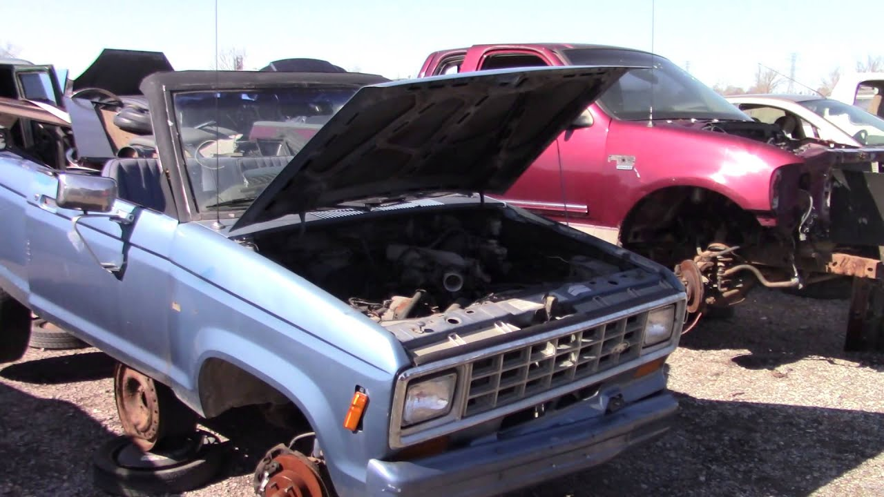Ford Ranger Convertible And Old Econoline At The Junk Yard