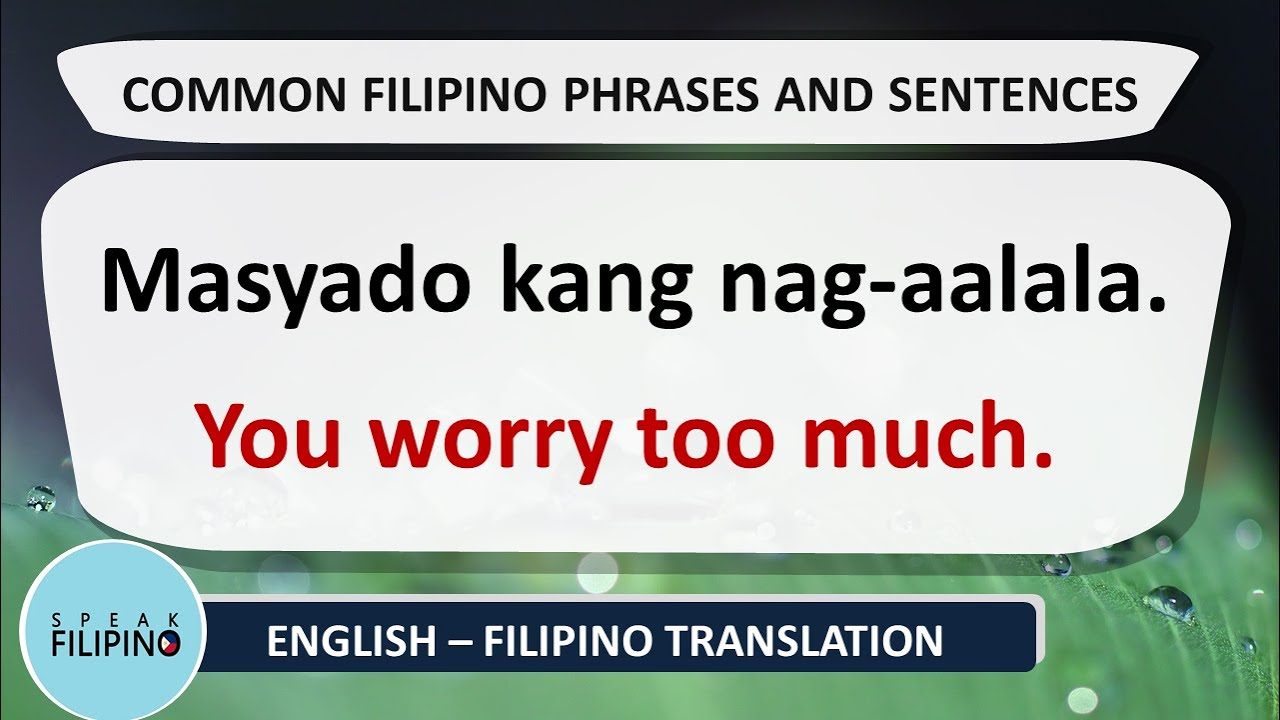 COMMONLY USED FILIPINO Phrases and Sentences! #16 (English-Tagalog)