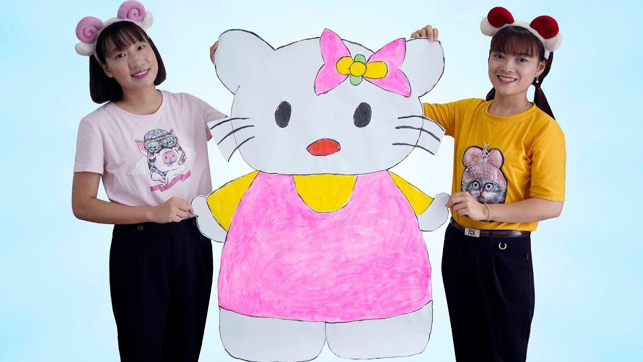Chị Hằng Vẽ Tranh Hello Kitty Khổng Lồ ❤ BIBI TV ❤