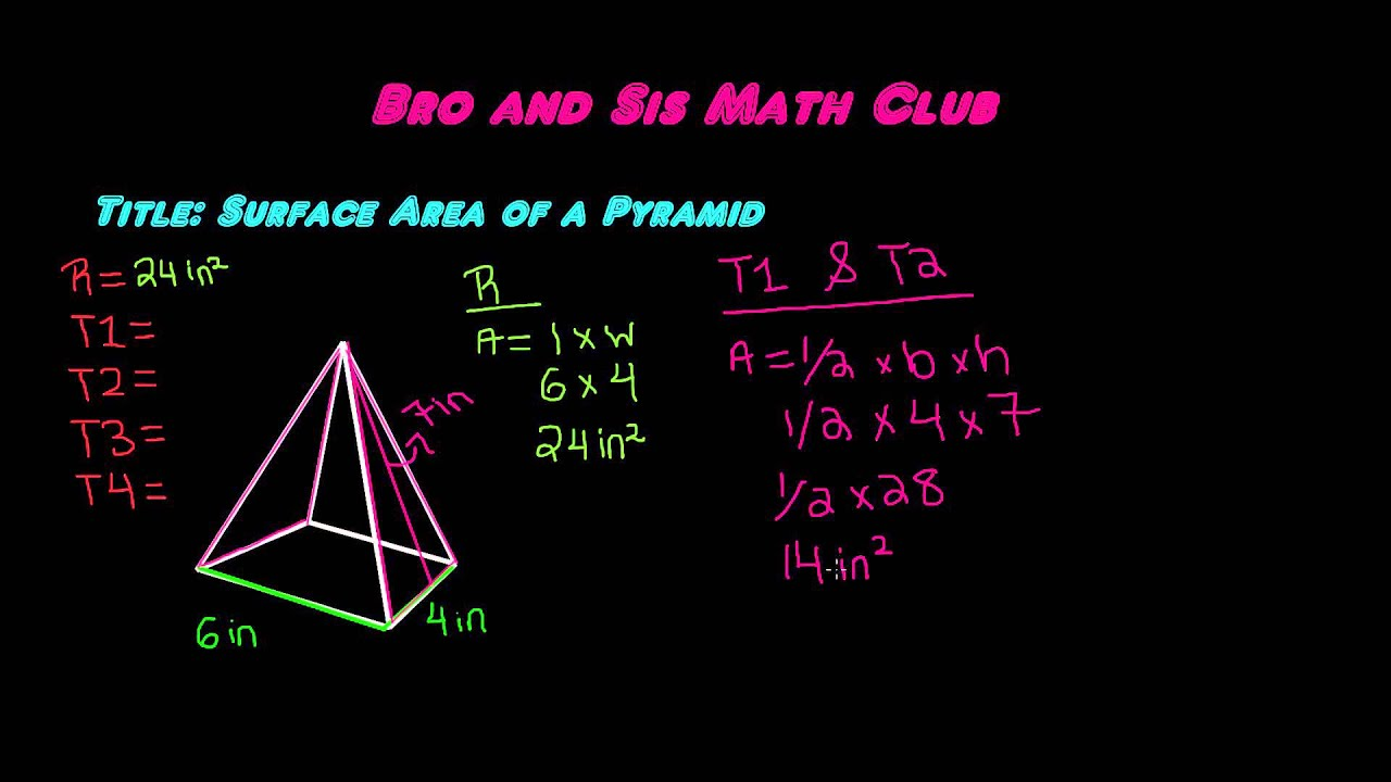 Surface Area Of A Pyramid  7th Grade Math