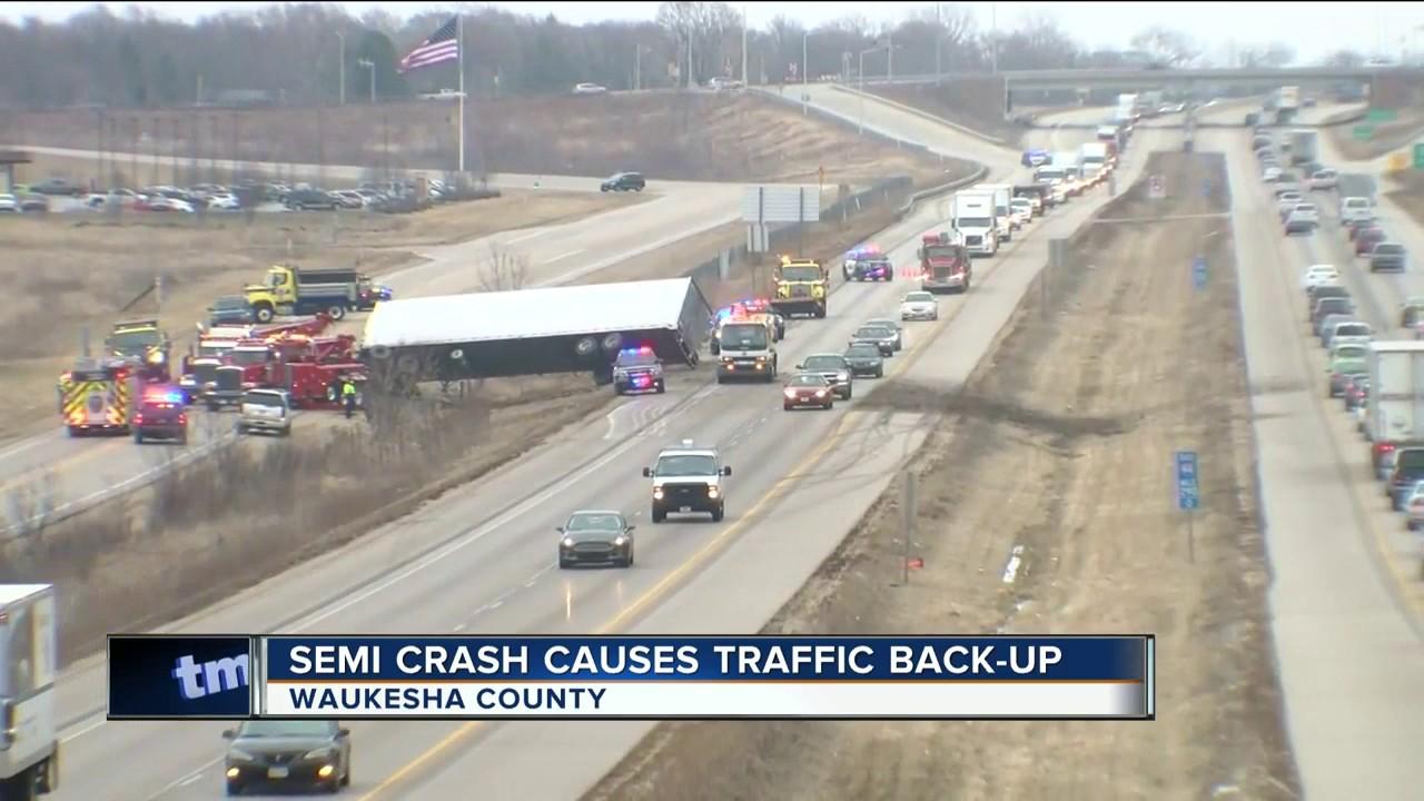 Semi crash closed right lane of I-94 WB in Waukesha County Monday morning