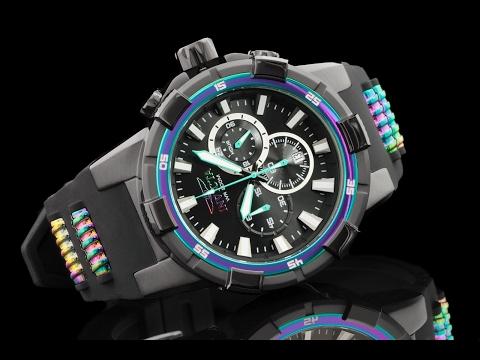 Invicta 23691 51.5 mm Aviator Rainbow Bezel Quartz Chronograph Strap Watch