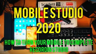 Android/iOS Mobile Music Studio setup | How to connect Audio Interface, MIDI keyboard in Mobile
