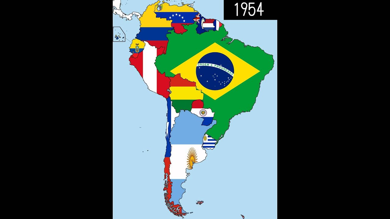 South America Timeline Of National Flags Part  YouTube - South america map and flags