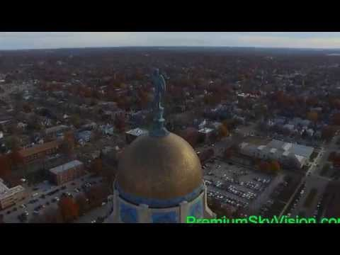 Aerial Video Footage Of The Nebraska State Capital Buliding
