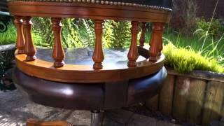 Captains Desk Chair Dark Brown Leather Swivel Height & Tilt Adjustable
