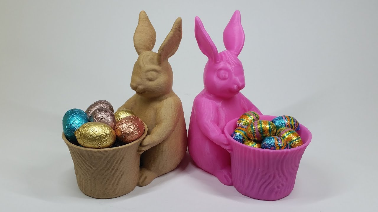 Support Free Easter Bunny Toy - Designed in ZBrush - 3D Printing in Wood  and PLA