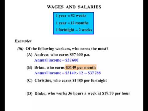 Year 11 and 12 General Maths - Wages and Salaries