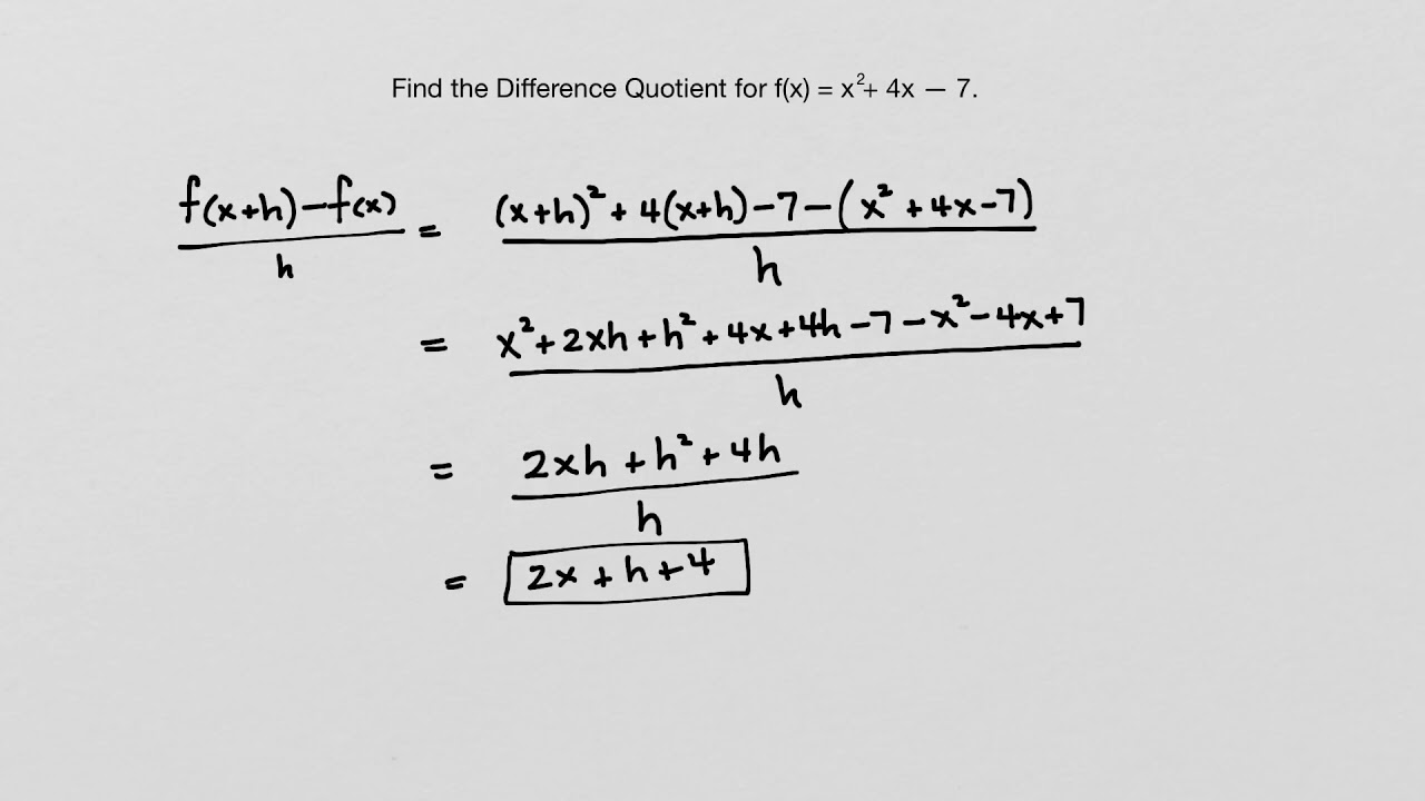 worksheet Difference Quotient Worksheet precalculus algebra finding the difference quotient youtube quotient