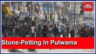 Massive Stone-Pelting By Locals In Pulwama After 2 Terrorists Killed In Encounter