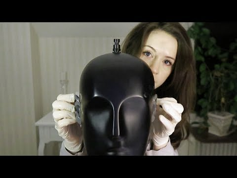 ASMR Ear massage with oil and latex gloves