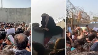 video: Afghanistan: If you can't take us, take our children, plead crowd outside Kabul airport