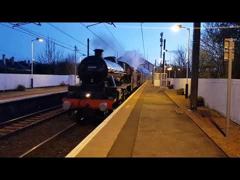 45690 Leander + 45699 Galatea passing through Slateford on the  Great Britain Railtour from Carlisle