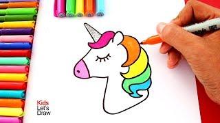 Aprender a Dibujar un UNICORNIO de Colores con el Cuerno Brillante usando Brillantina