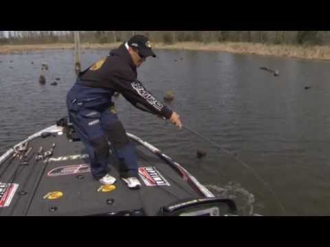 Edwin Evers catches bass on a jig at 2012 Classic