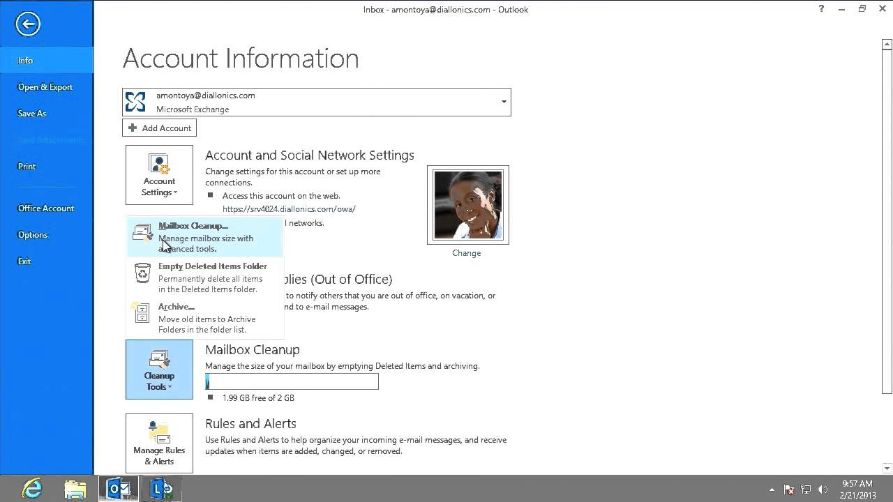 Microsoft Outlook 2013: Mailbox Cleanup