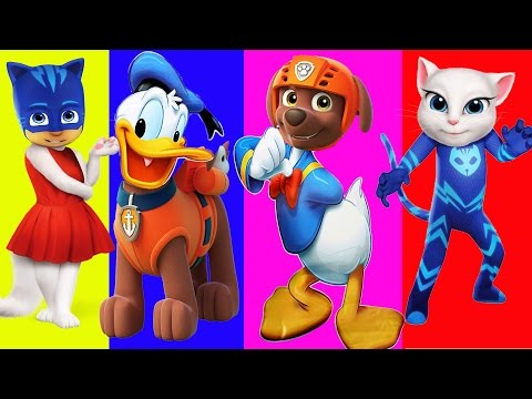 Thumbnail: Learn Colors with Wrong Heads Paw Patrol Pj Masks Donal Duck Cartoon Video For children