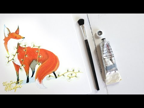 Watercolor Time-lapse Painting of a Christmas Fox