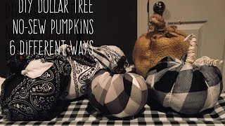 DIY Dollar Tree  No-Sew Pumpkins  6 Different Ways