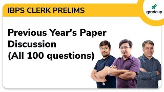 IBPS Clerk Previous Year Question Paper Discussion with Solution by Gradeup!