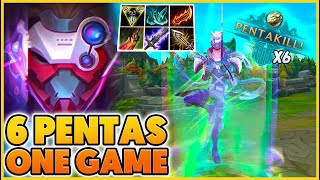 *WORLD RECORD* I GET SIX PENTAS IN ONE GAME!!! (GLOBAL Q) - BunnyFuFuu | League of Legends