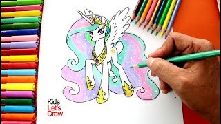 Cómo Dibujar y Pintar a la PRINCESA CELESTIA | Drawing Princess Celestia My Little Pony