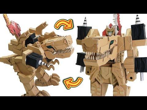 Cardboard DIY Transforming Knight Doragon  騎士竜戦隊リュウソウジャー、キシリュウオ―を作った!!