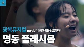 비오는 명동,  57명의 뮤지컬 배우들의 광복절 플래시몹 On a rainy day, musical actors perform a flash mob in seoul