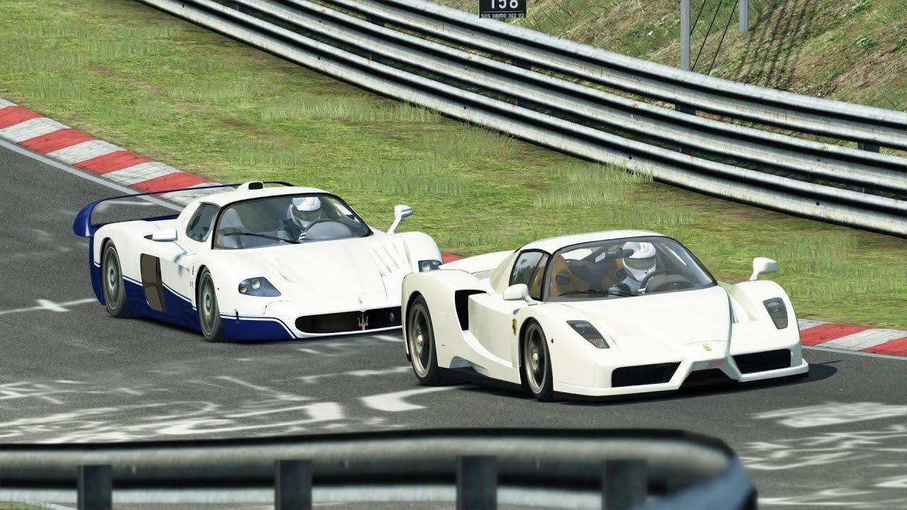 maserati mc12 vs ferrari enzo / nürburgring / assetto corsa - youtube