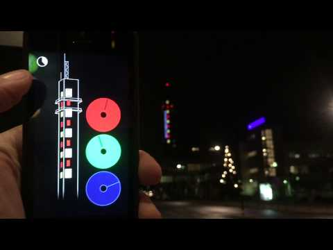 App to change the color of a tower in Stockholm