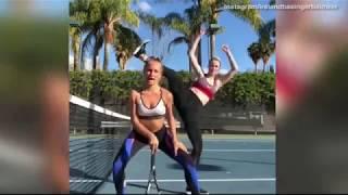 Ireland Baldwin and Sailor Brinkley Cook dance on tennis court
