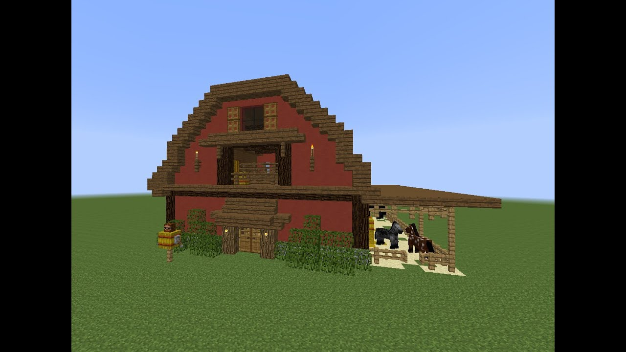 Minecraft tutorial how to build a barn youtube for Things to include when building a house