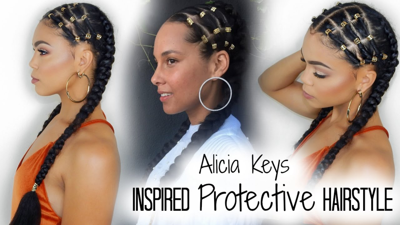 Easy Step By Step Alicia Keys Inspired Protective Hairstyle Emily Cottontop Alicia Keys Hairstyles Braids With Beads Diy Hairstyles