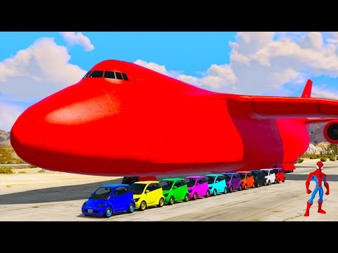 Color Small Cars Transportation on Biggest Airplane w Spiderman 3D Animation Cartoon for kids