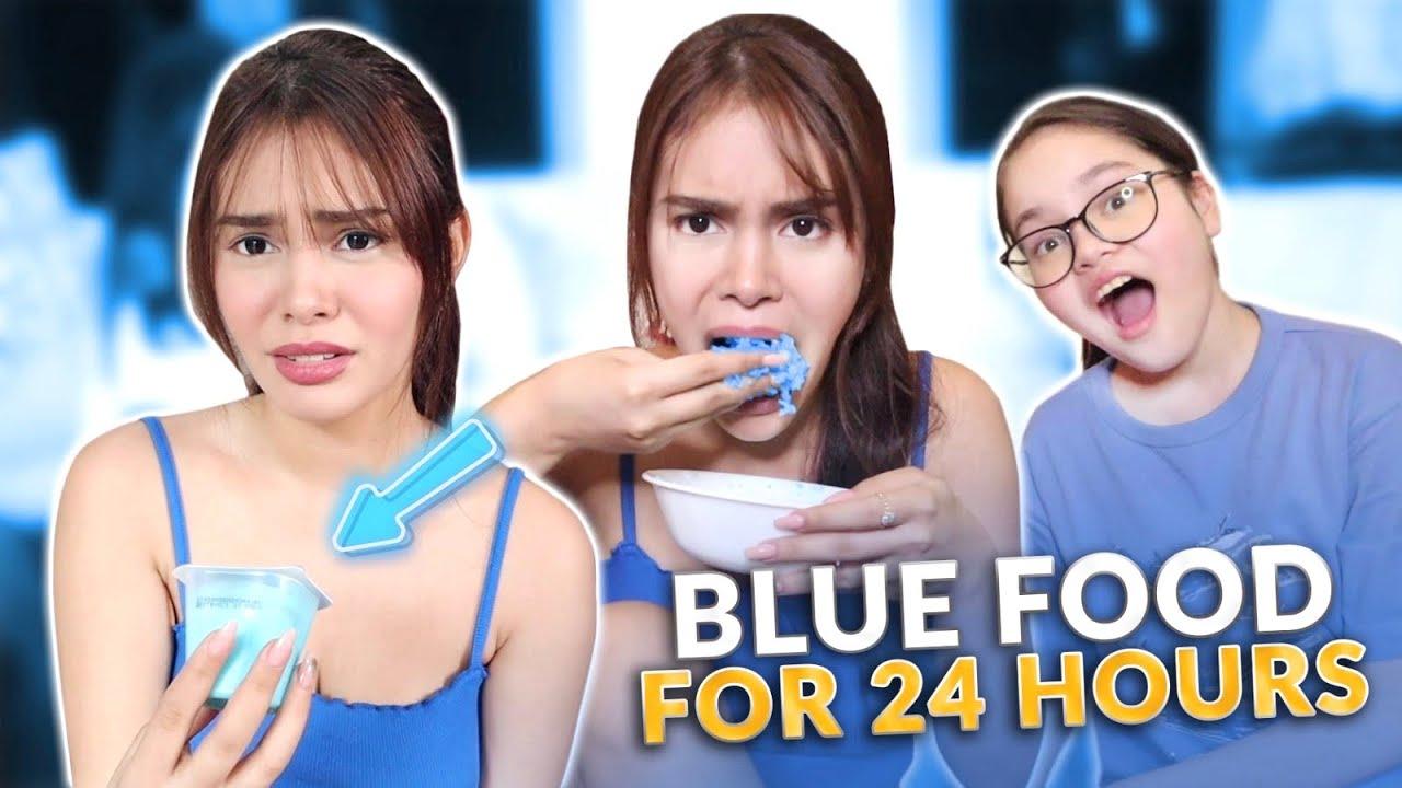 EATING BLUE FOOD FOR 24 HOURS! | IVANA ALAWI