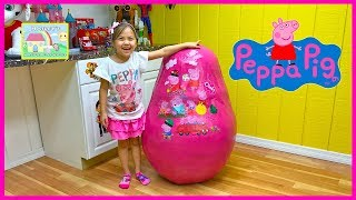 GIANT PEPPA PIG SURPRISE EGG TOYS Biggest Toy Eggs Surprises TreeHouse George DaddyPig Holiday Plane